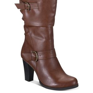 Style & Co. Cognac winter heeled boots with buckle
